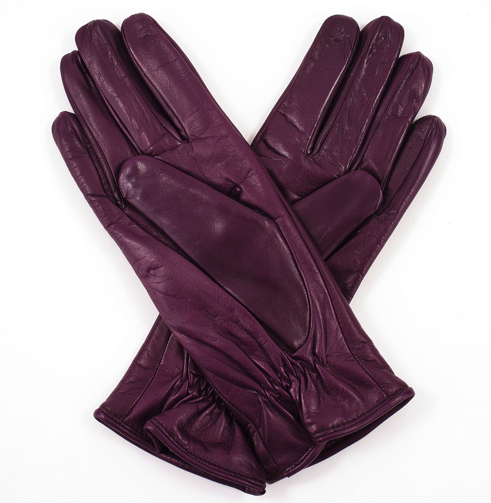 Pittards ladies leather gloves - Womens Plum Leather Gloves Cashmere Lining